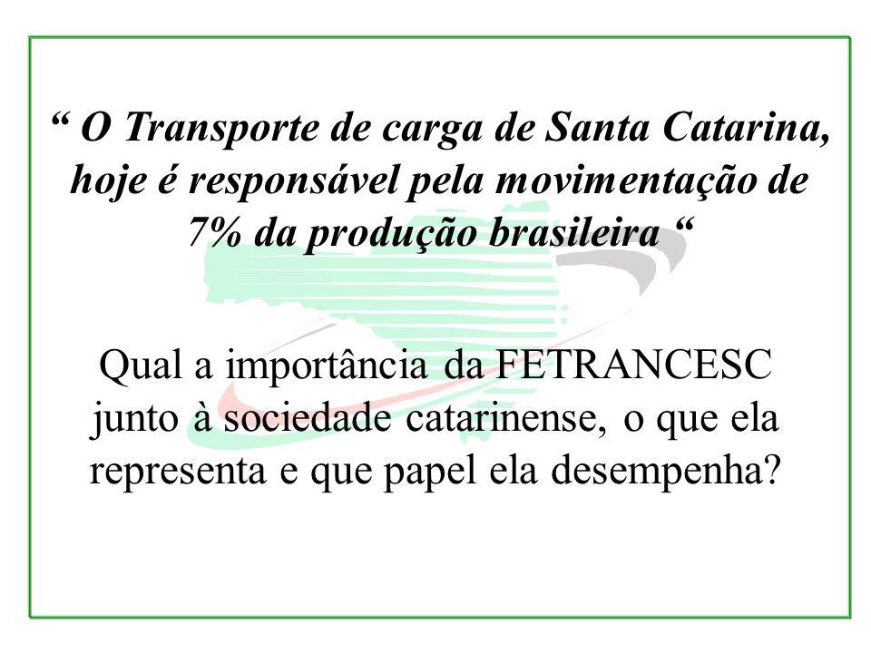 O Transporte de carga de Santa Catarina, hoje é responsável pela movimentação de 7% da produção brasileira