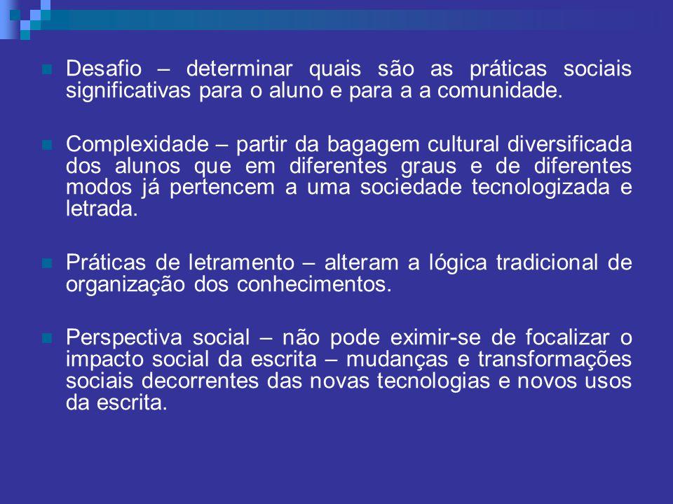 Desafio – determinar quais são as práticas sociais significativas para o aluno e para a a comunidade.