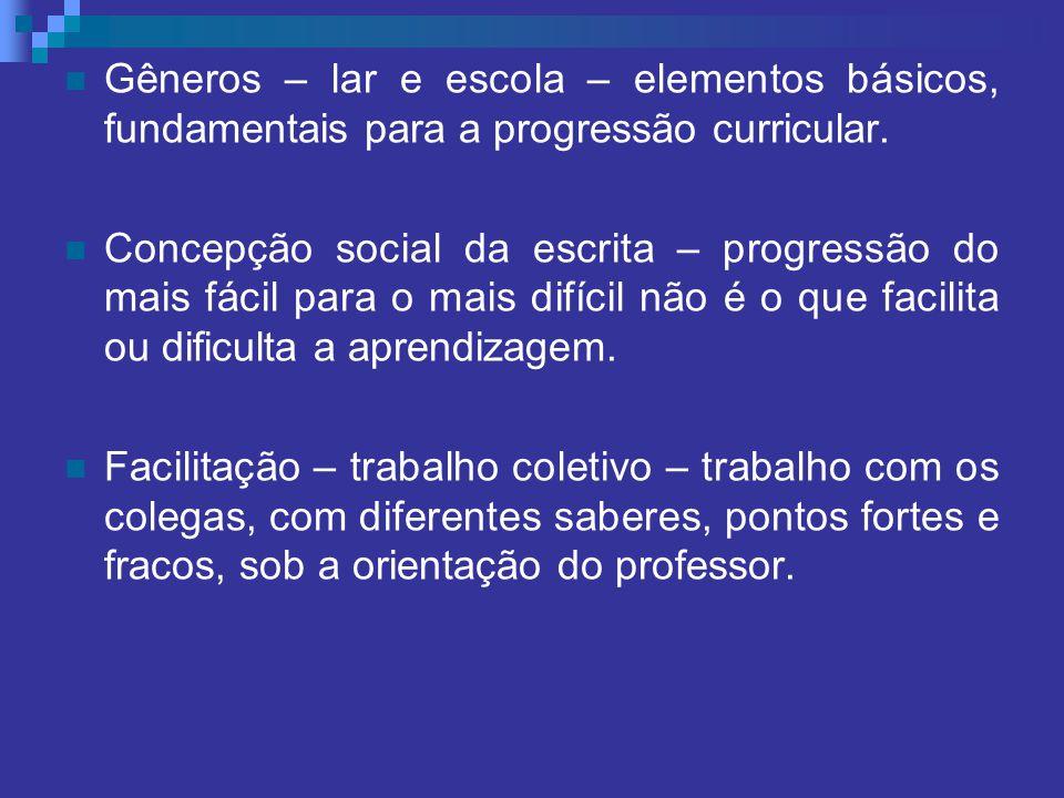 Gêneros – lar e escola – elementos básicos, fundamentais para a progressão curricular.
