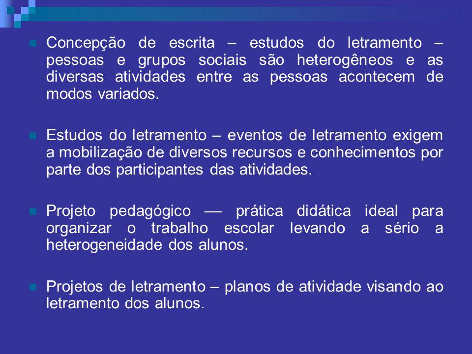 Concepção de escrita – estudos do letramento – pessoas e grupos sociais são heterogêneos e as diversas atividades entre as pessoas acontecem de modos variados.