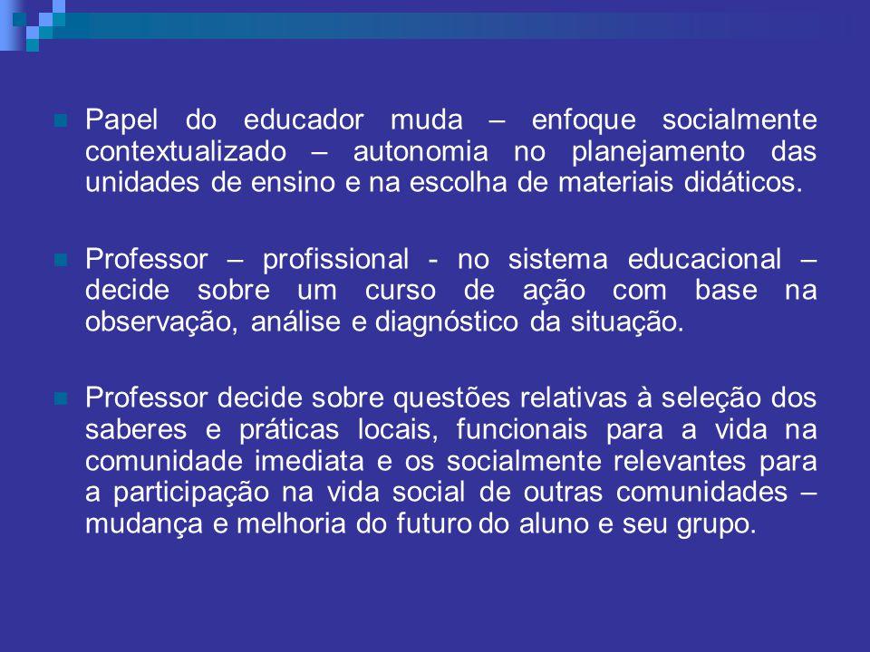 Papel do educador muda – enfoque socialmente contextualizado – autonomia no planejamento das unidades de ensino e na escolha de materiais didáticos.