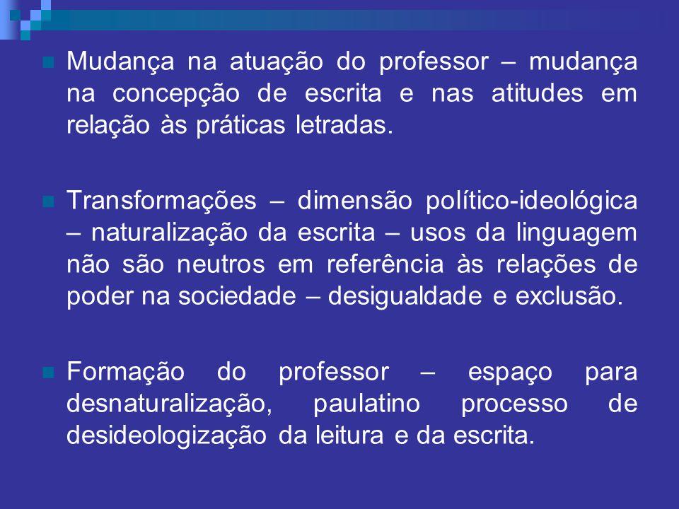 Mudança na atuação do professor – mudança na concepção de escrita e nas atitudes em relação às práticas letradas.