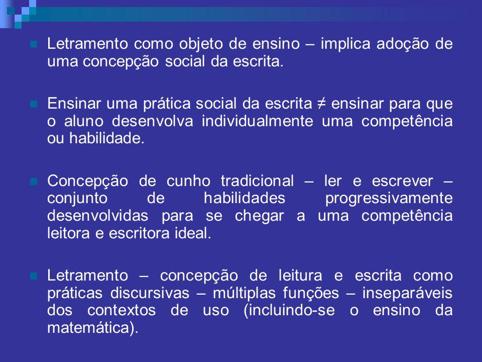 Letramento como objeto de ensino – implica adoção de uma concepção social da escrita.