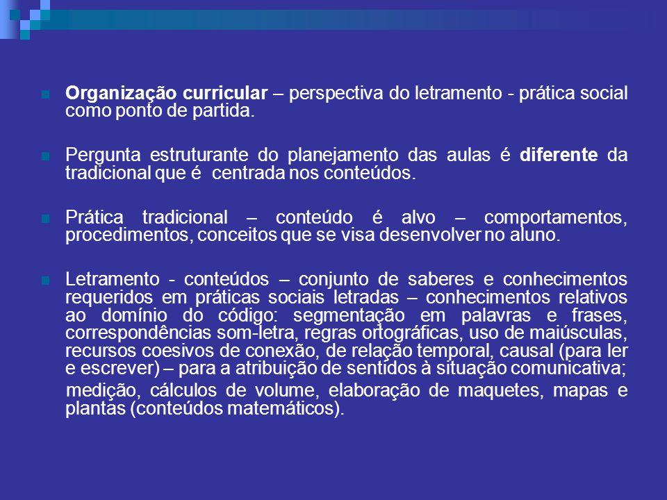 Organização curricular – perspectiva do letramento - prática social como ponto de partida.