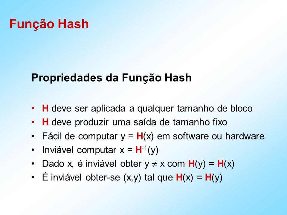 Função Hash Propriedades da Função Hash