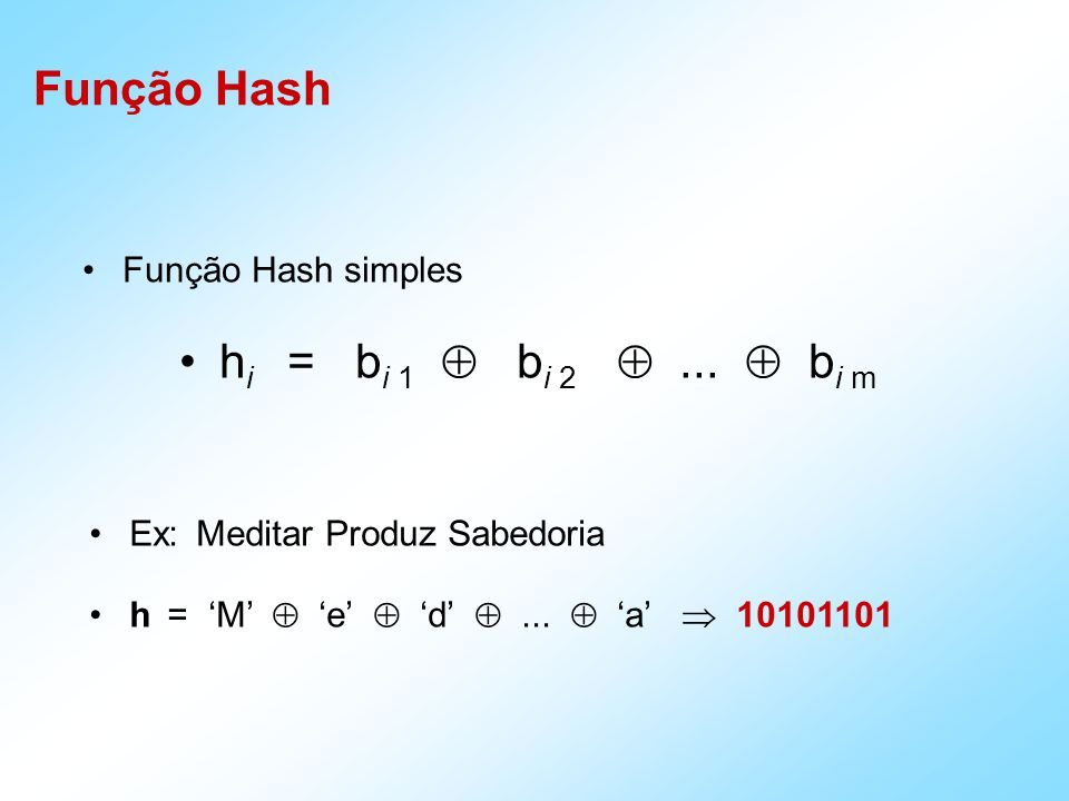 Função Hash hi = bi 1  bi 2  ...  bi m Função Hash simples
