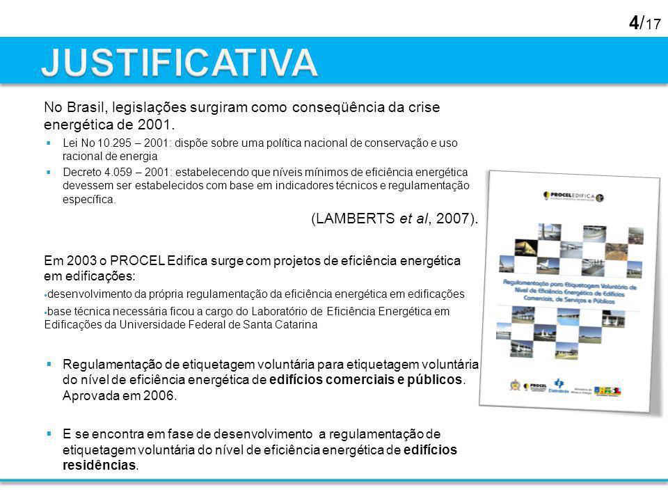 JUSTIFICATIVA No Brasil, legislações surgiram como conseqüência da crise energética de 2001.