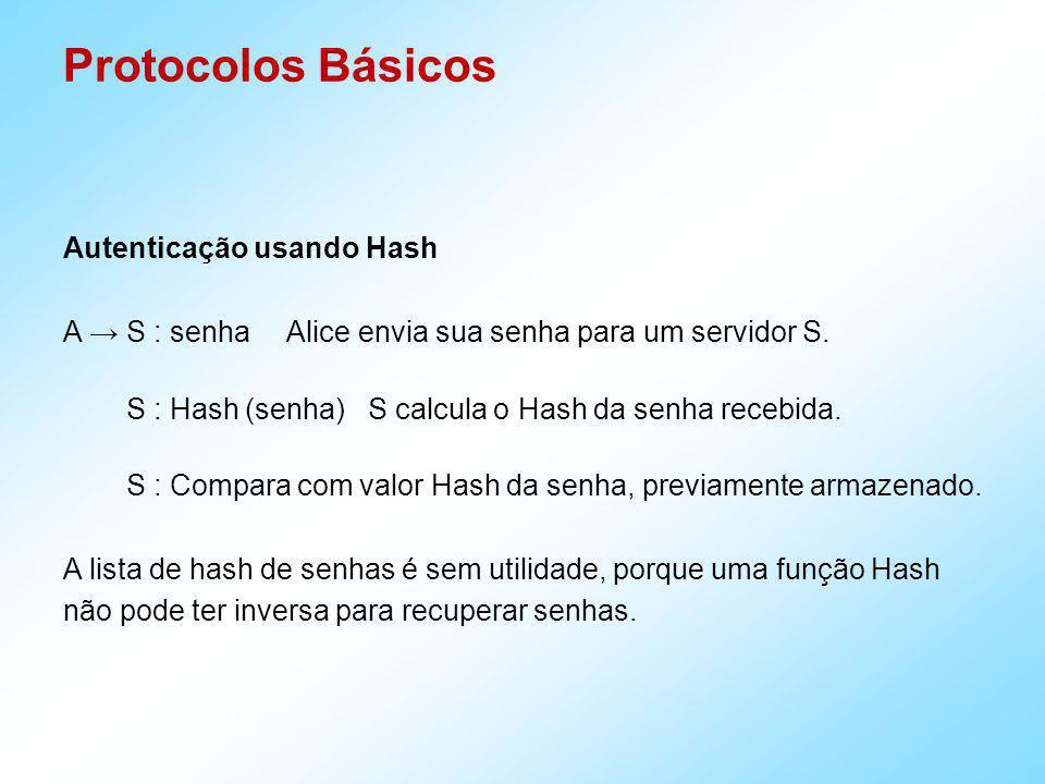 Protocolos Básicos Autenticação usando Hash