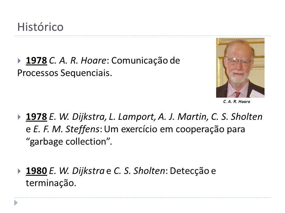 Histórico 1978 C. A. R. Hoare: Comunicação de Processos Sequenciais.