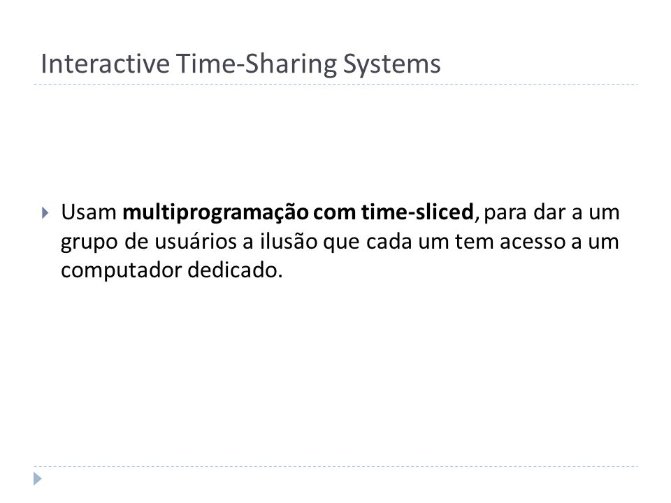 Interactive Time-Sharing Systems