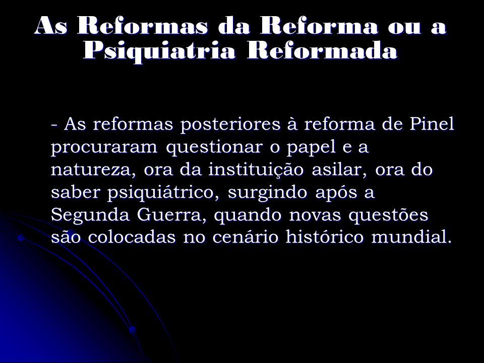 As Reformas da Reforma ou a Psiquiatria Reformada
