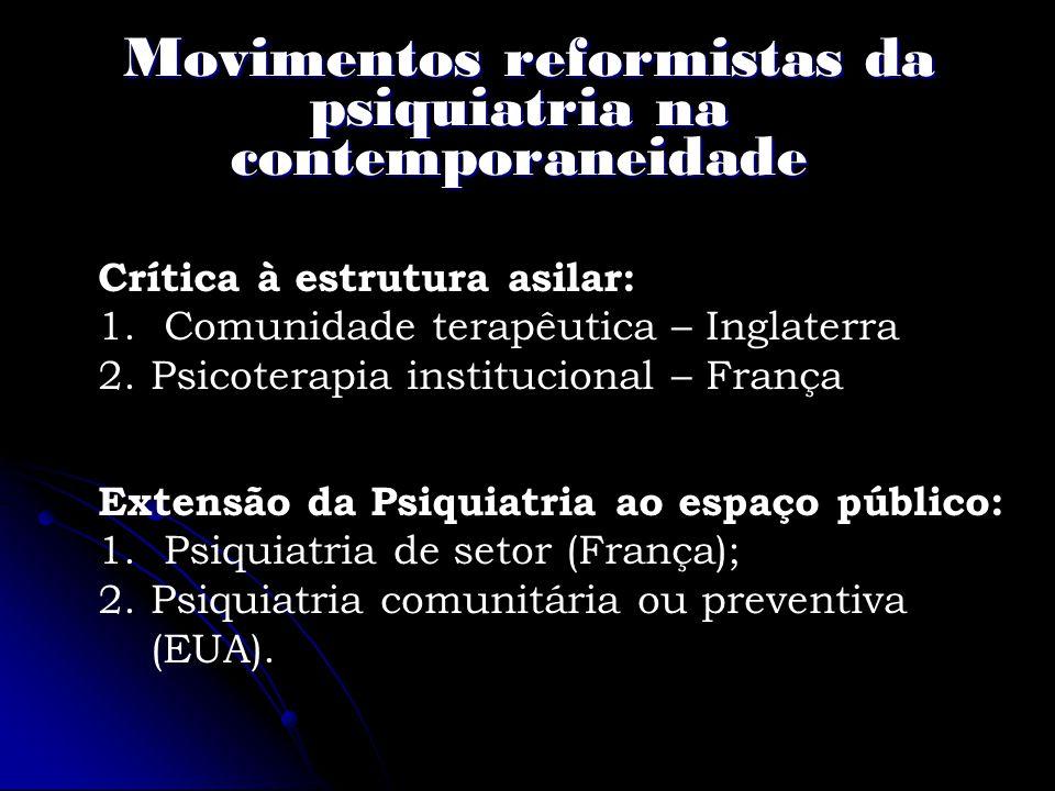Movimentos reformistas da psiquiatria na contemporaneidade
