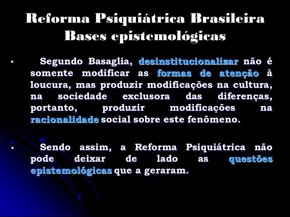 Reforma Psiquiátrica Brasileira Bases epistemológicas