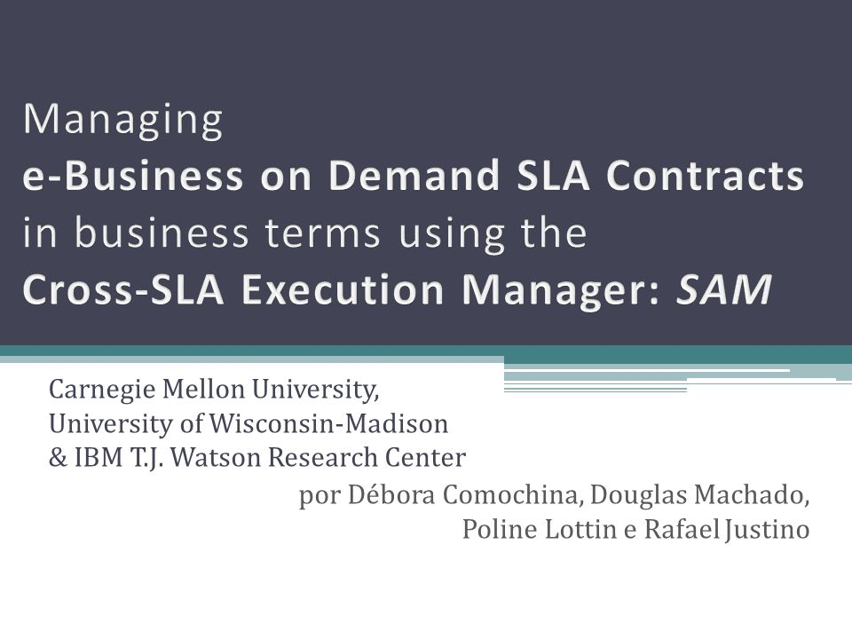 Managing e-Business on Demand SLA Contracts in business terms using the Cross-SLA Execution Manager: SAM