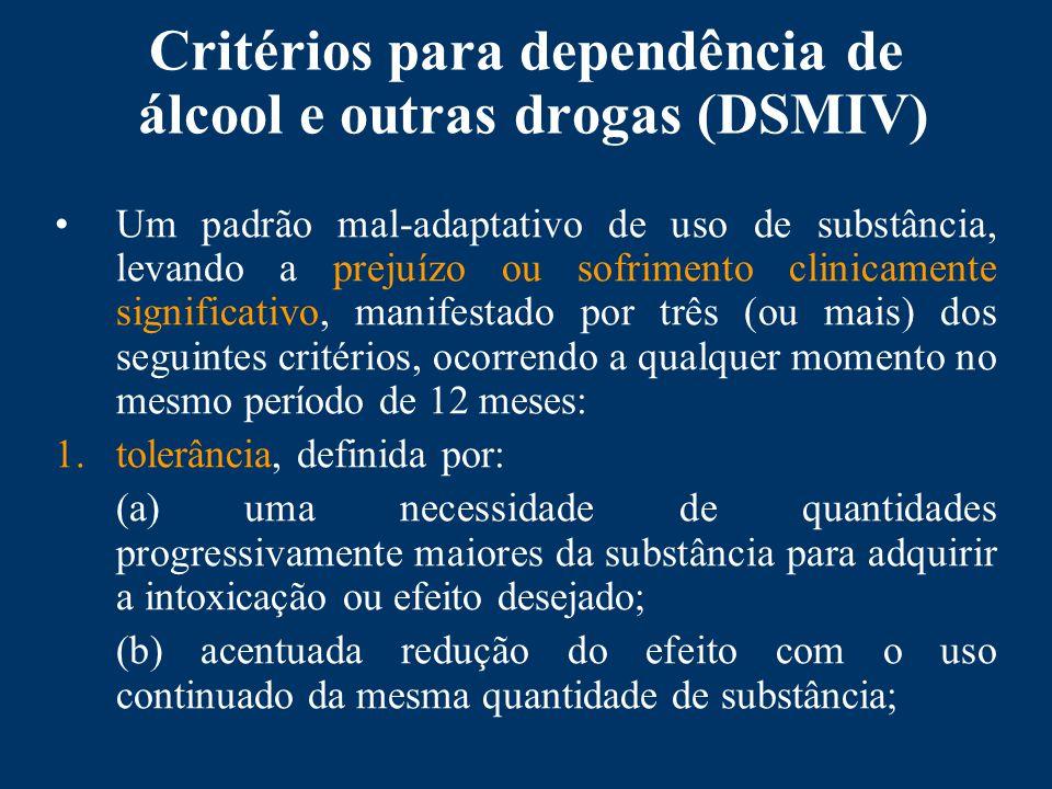 Critérios para dependência de álcool e outras drogas (DSMIV)
