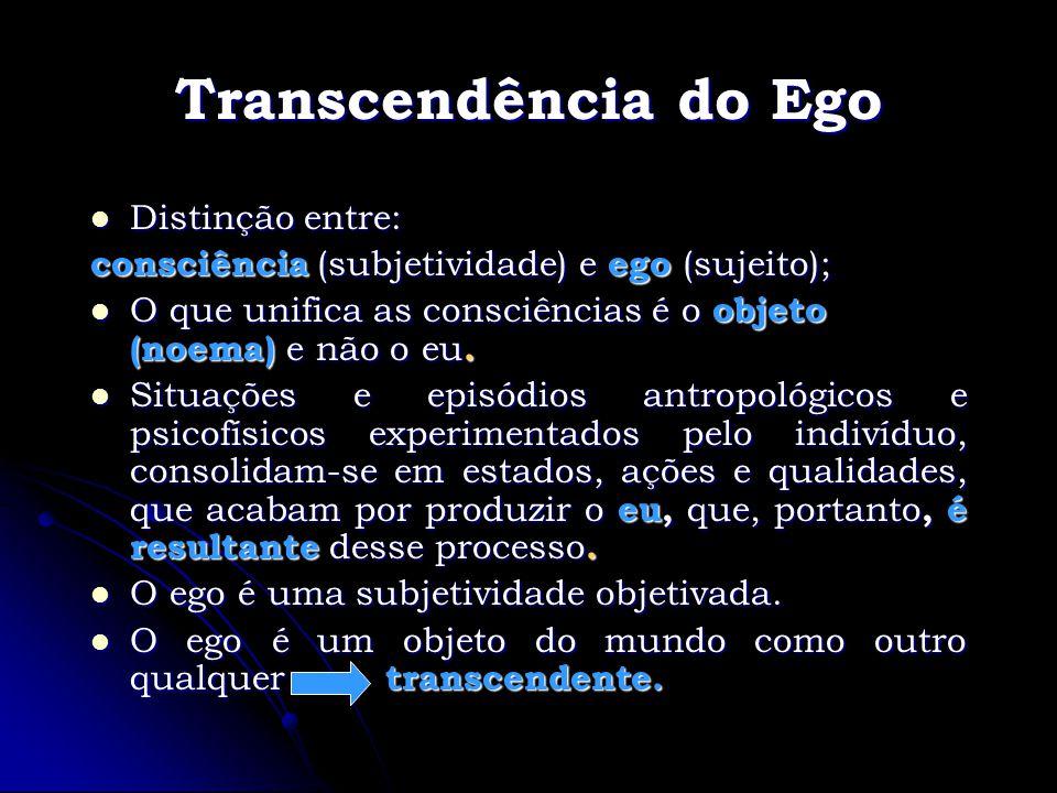 Transcendência do Ego Distinção entre: