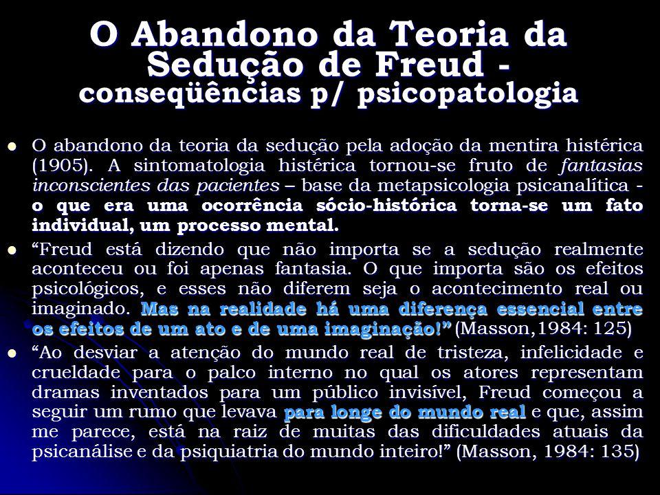 O Abandono da Teoria da Sedução de Freud - conseqüências p/ psicopatologia