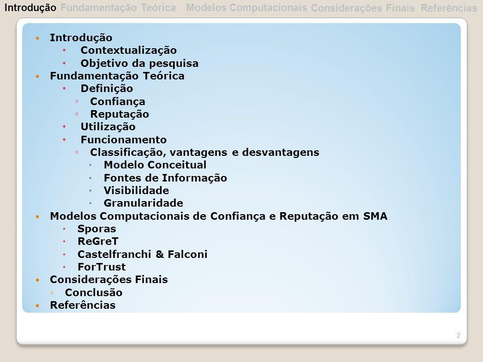 Introdução Fundamentação Teórica. Modelos Computacionais. Considerações Finais. Referências. Introdução.
