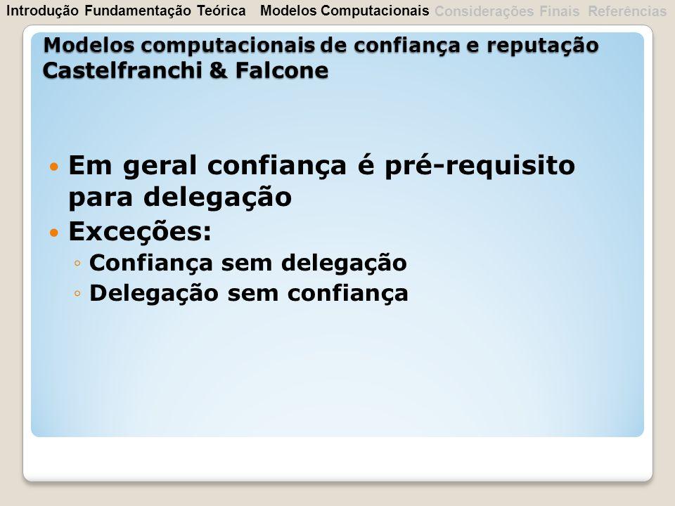 Em geral confiança é pré-requisito para delegação Exceções: