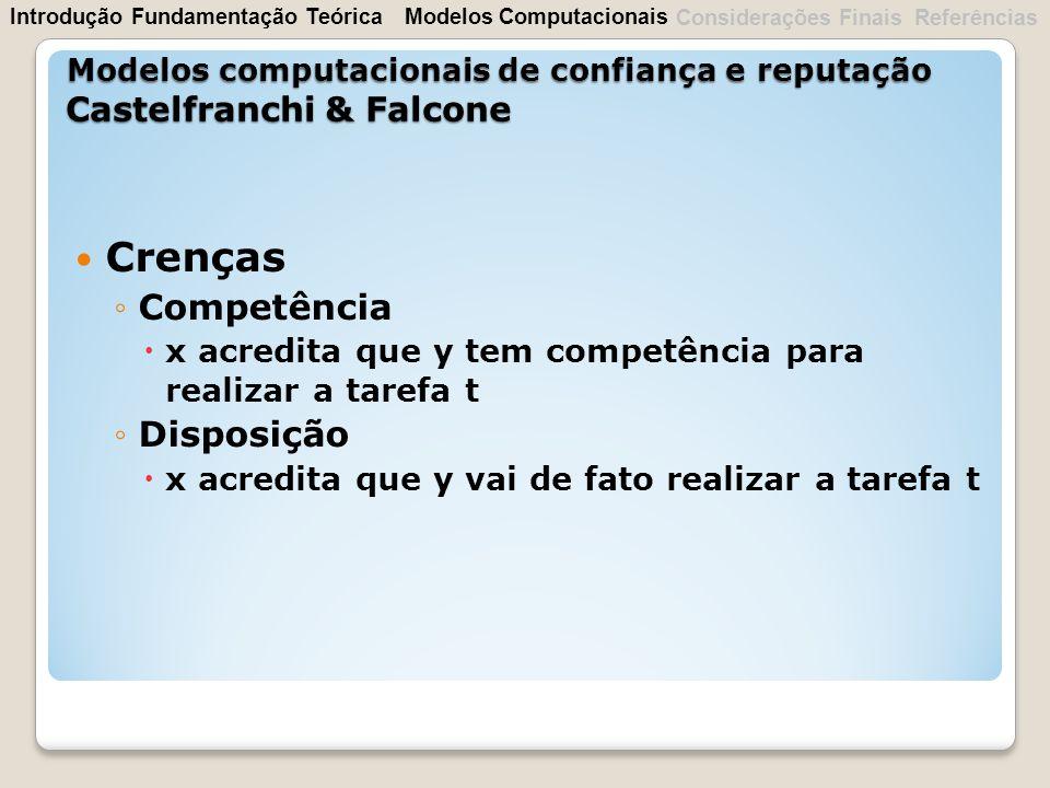 Crenças Competência Disposição Castelfranchi & Falcone