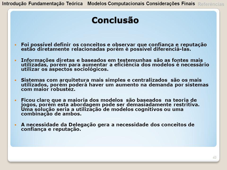 Conclusão Introdução Fundamentação Teórica Modelos Computacionais
