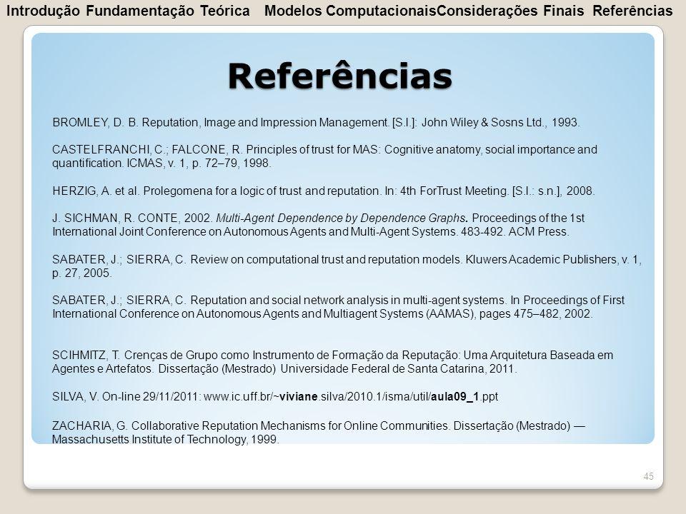 Referências Introdução Fundamentação Teórica Modelos Computacionais