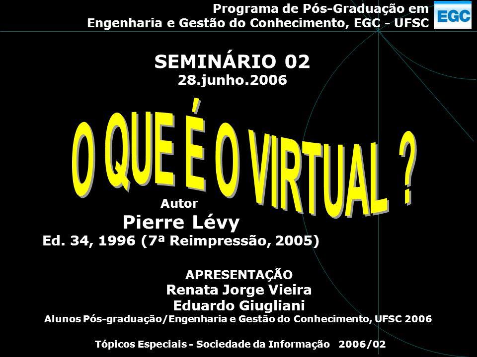 O QUE É O VIRTUAL SEMINÁRIO 02 Pierre Lévy 28.junho.2006