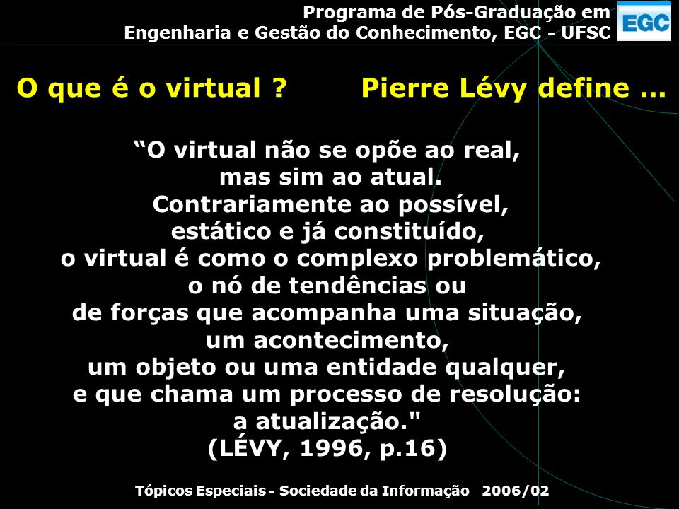 O que é o virtual Pierre Lévy define ...