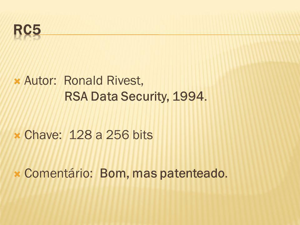 RC5 Autor: Ronald Rivest, RSA Data Security, 1994.