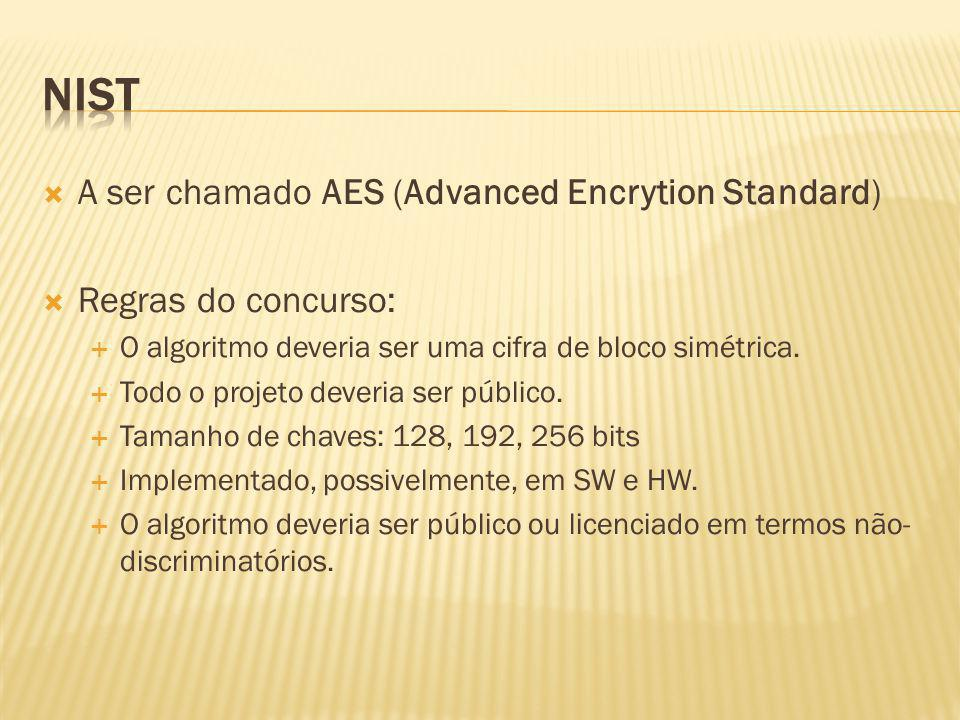 NIST A ser chamado AES (Advanced Encrytion Standard)