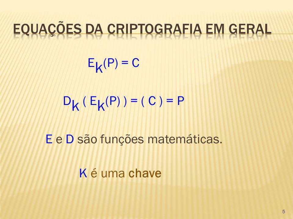 Equações da Criptografia em geral