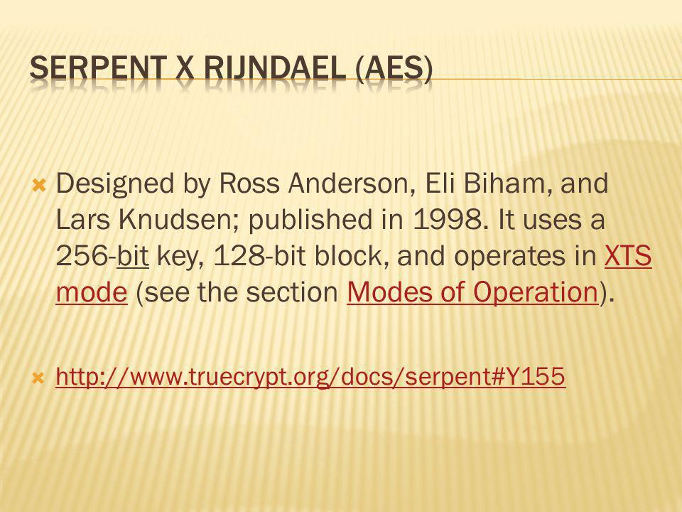 Serpent x Rijndael (AES)