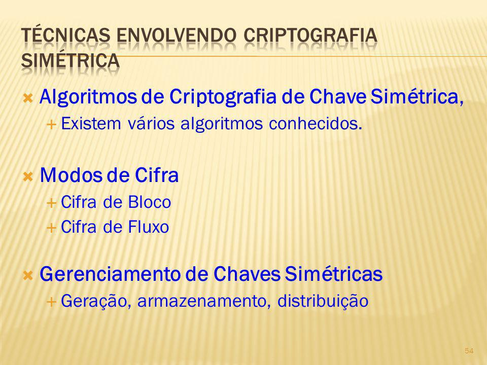 Técnicas envolvendo criptografia simétrica