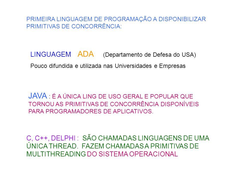 PRIMEIRA LINGUAGEM DE PROGRAMAÇÃO A DISPONIBILIZAR PRIMITIVAS DE CONCORRÊNCIA: