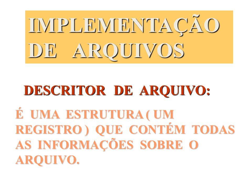 IMPLEMENTAÇÃO DE ARQUIVOS
