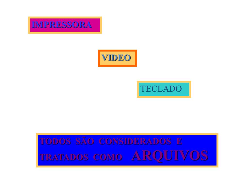 IMPRESSORA VIDEO TECLADO TODOS SÃO CONSIDERADOS E TRATADOS COMO ARQUIVOS