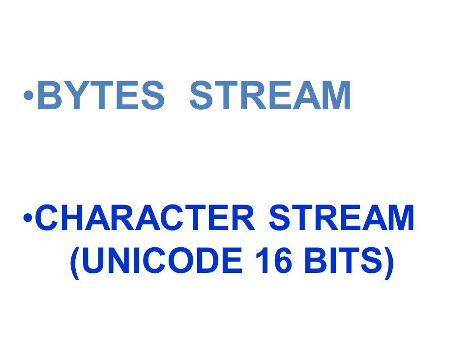 BYTES STREAM CHARACTER STREAM (UNICODE 16 BITS)