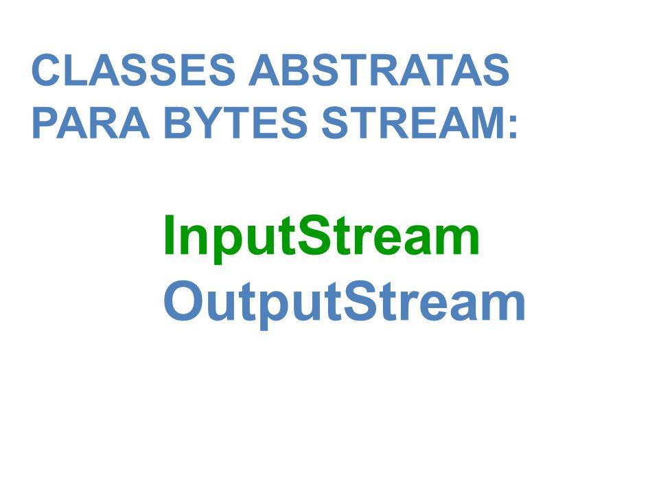CLASSES ABSTRATAS PARA BYTES STREAM: