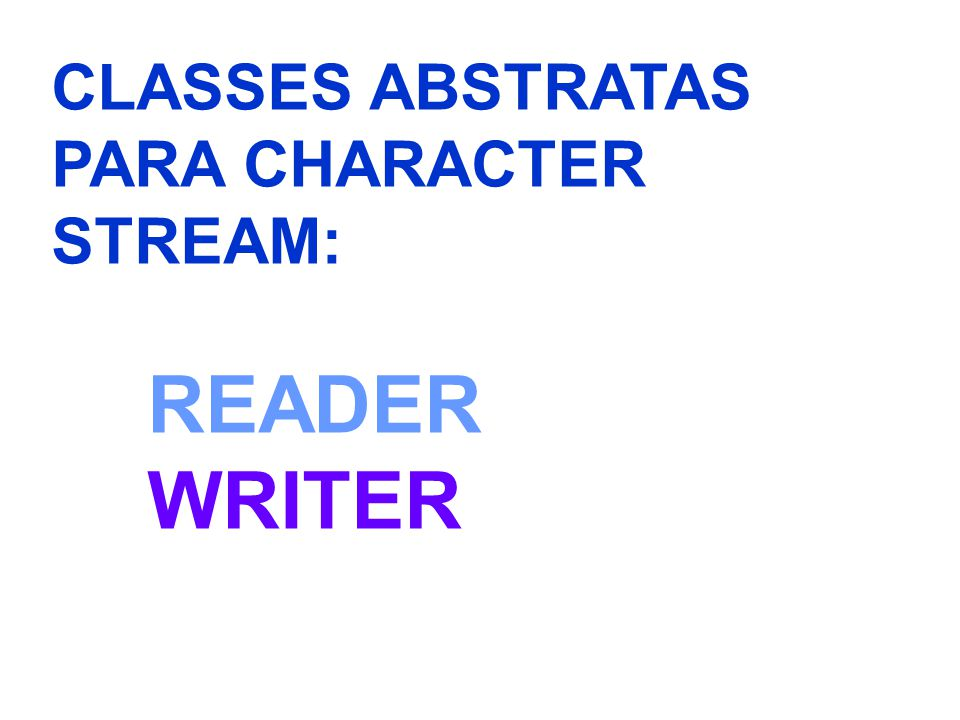 CLASSES ABSTRATAS PARA CHARACTER STREAM: