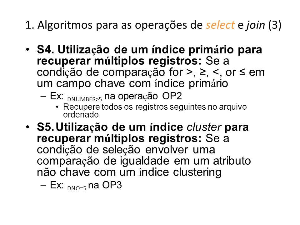1. Algoritmos para as operações de select e join (3)