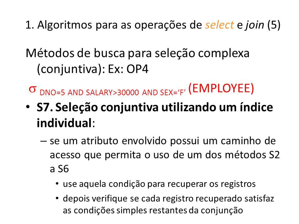1. Algoritmos para as operações de select e join (5)