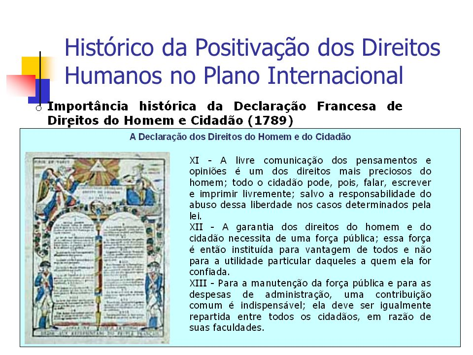 Histórico da Positivação dos Direitos Humanos no Plano Internacional
