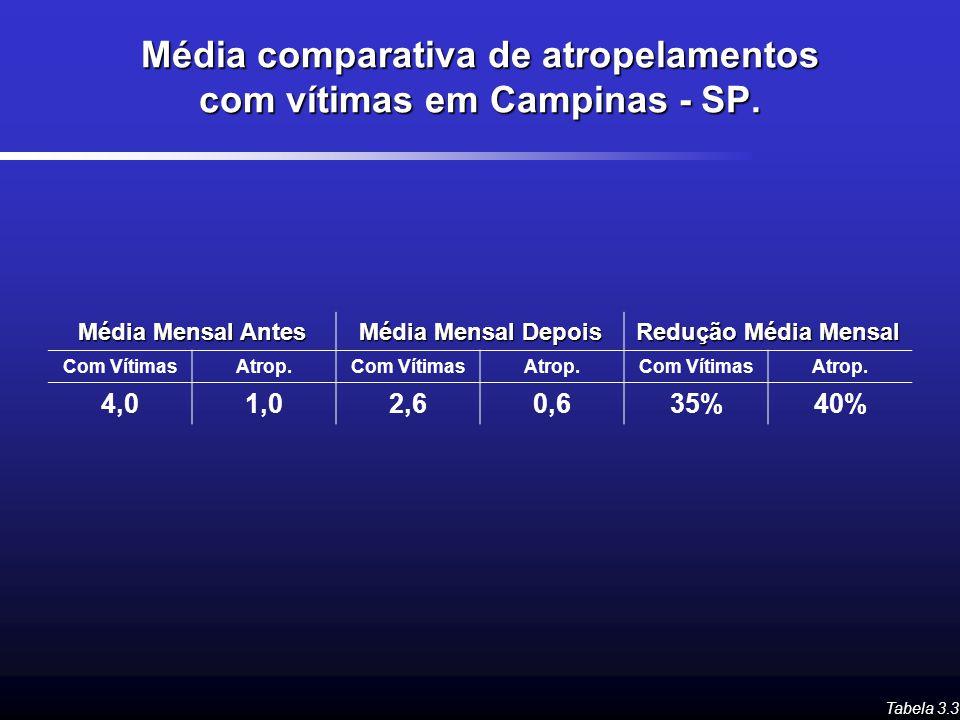 Média comparativa de atropelamentos com vítimas em Campinas - SP.