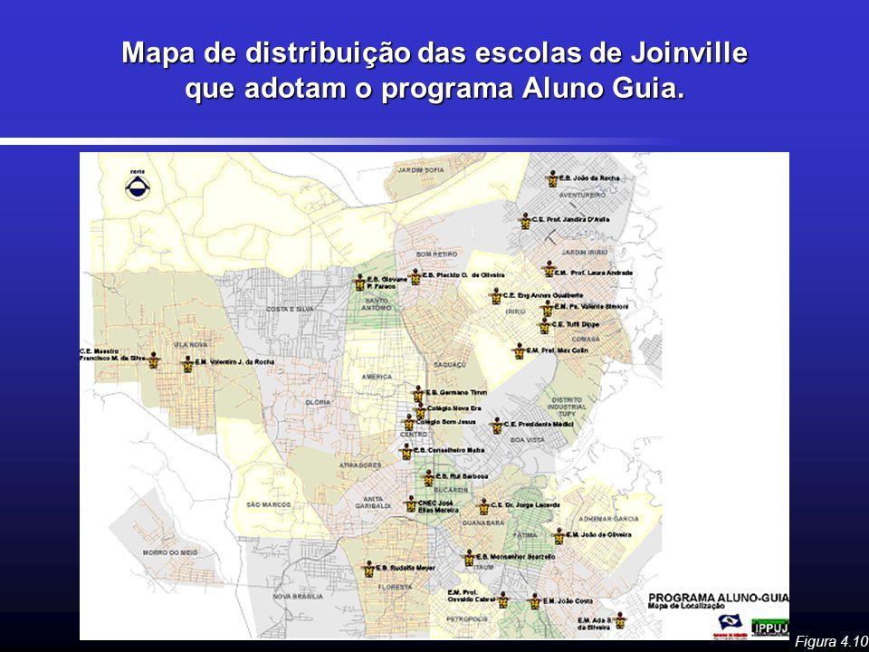 Mapa de distribuição das escolas de Joinville que adotam o programa Aluno Guia.