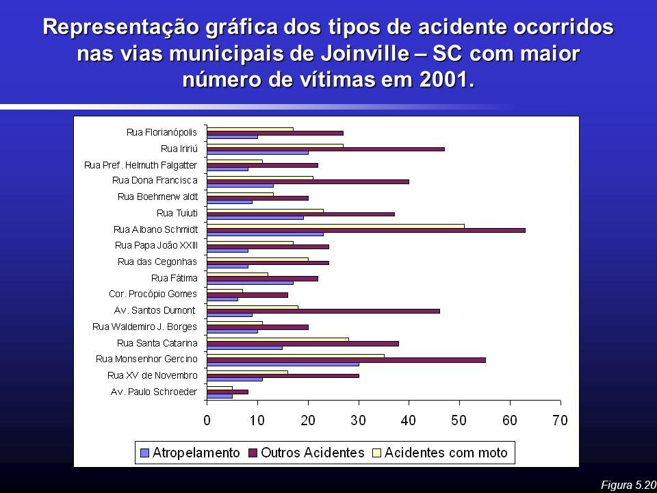 Representação gráfica dos tipos de acidente ocorridos nas vias municipais de Joinville – SC com maior número de vítimas em 2001.