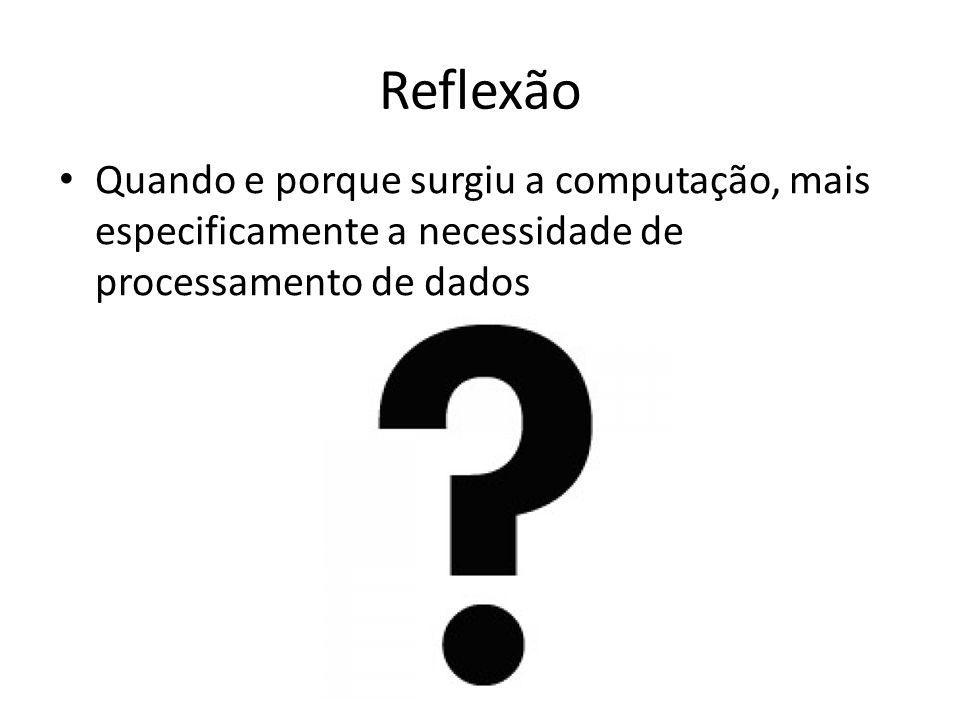 Reflexão Quando e porque surgiu a computação, mais especificamente a necessidade de processamento de dados.