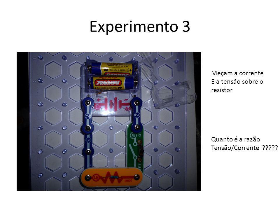 Experimento 3 Meçam a corrente E a tensão sobre o resistor