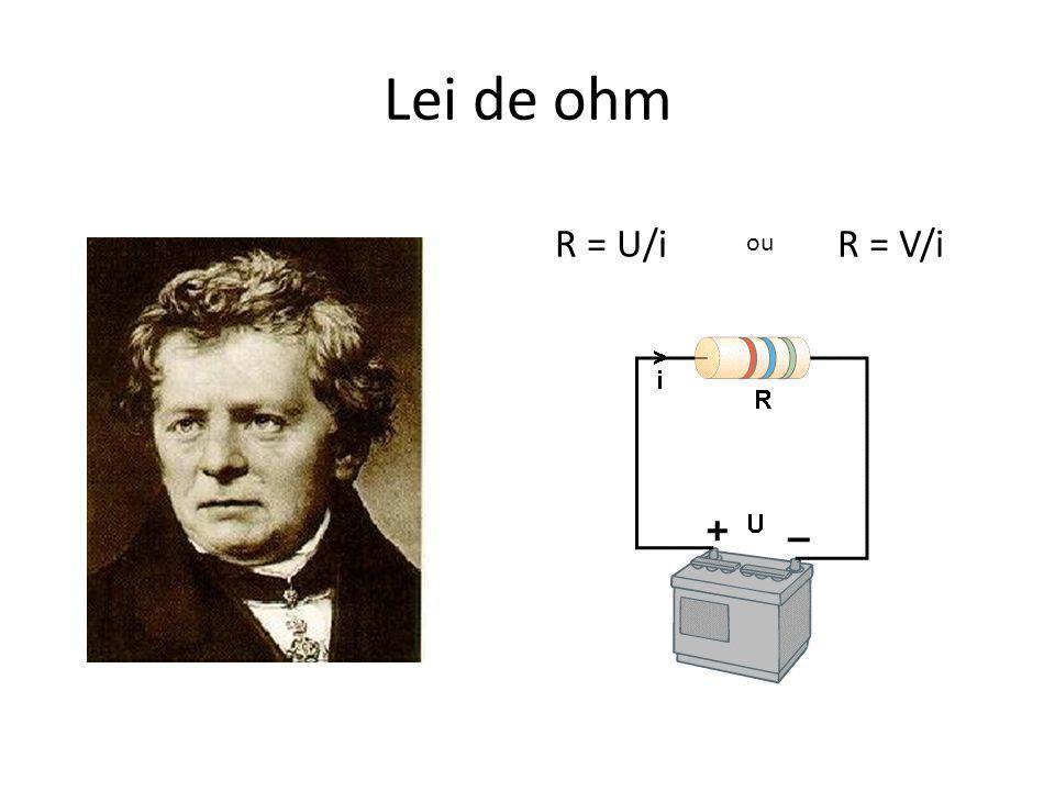 Lei de ohm R = U/i R = V/i ou