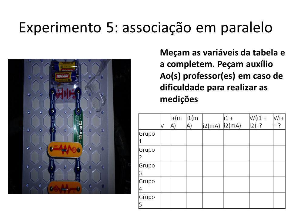 Experimento 5: associação em paralelo