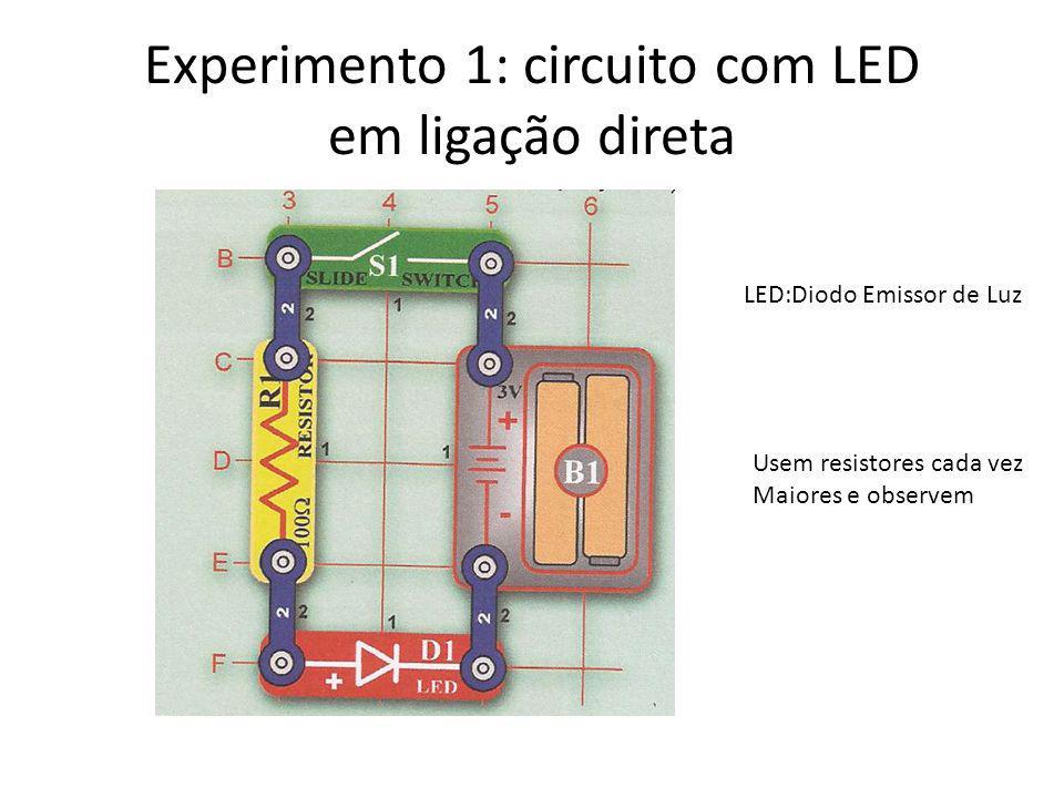 Experimento 1: circuito com LED em ligação direta